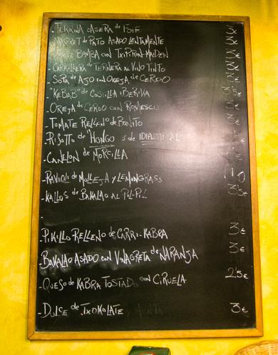 Borda Berri menu