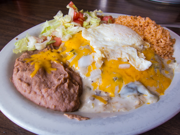 Flat enchiladas at Mando's in Marfa, TX
