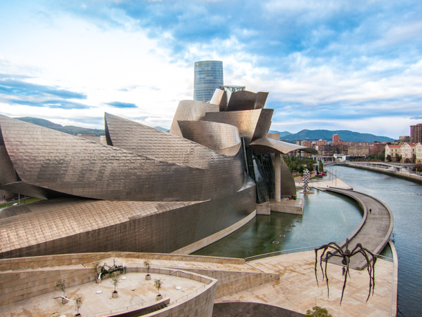 Guggenheim Bilbao Exterior from bridge